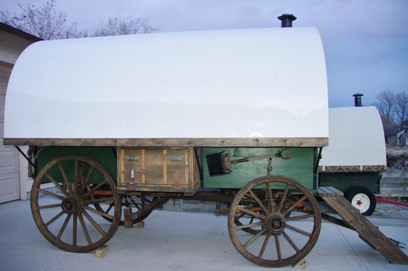 we restored antique wood spoke running gear and built this custom wsheep wagon