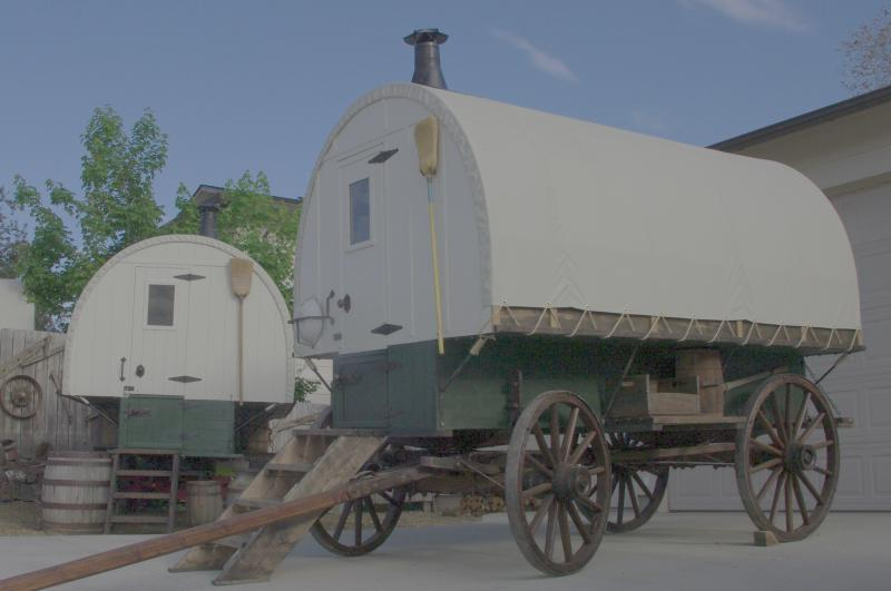 Sheep Wagon built in older style on original antique woodspoke wheels
